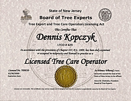 New Jersey Licensed Tree Care Operator (LTCO)