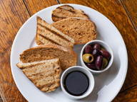 Rustic Bread, Olive Oil & Balsamic, Mixed Marinated Olives