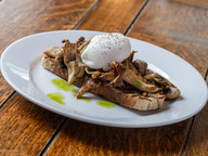 Mixed Garlic Mushrooms on Toast, Poached Egg