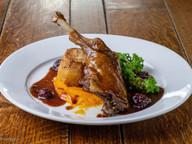Confit Duck Leg, Fondant Potato, Carrot Puree, Kale & Blackberry Jus