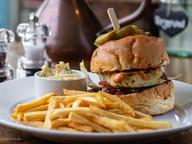 Halloumi Burger, Caramelized Onion, Lettuce, Tomato, Burger Sauce, Slaw & Fries