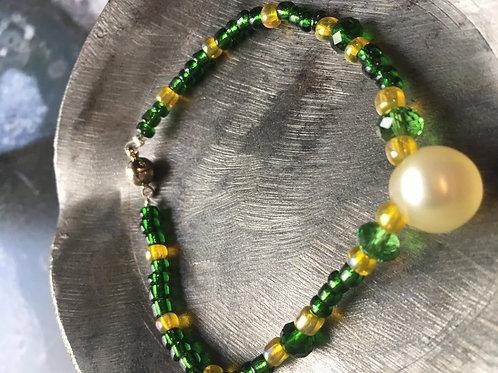 bracelet perles de verre et cristal