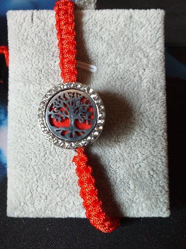 bracelet tissé en coton perlé et pression diffuseur de parfum
