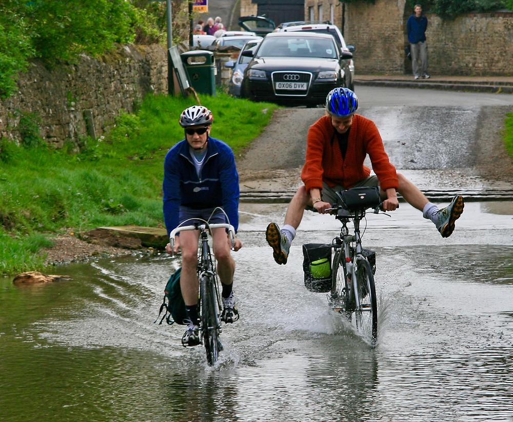 Crossing the ford into Geddington