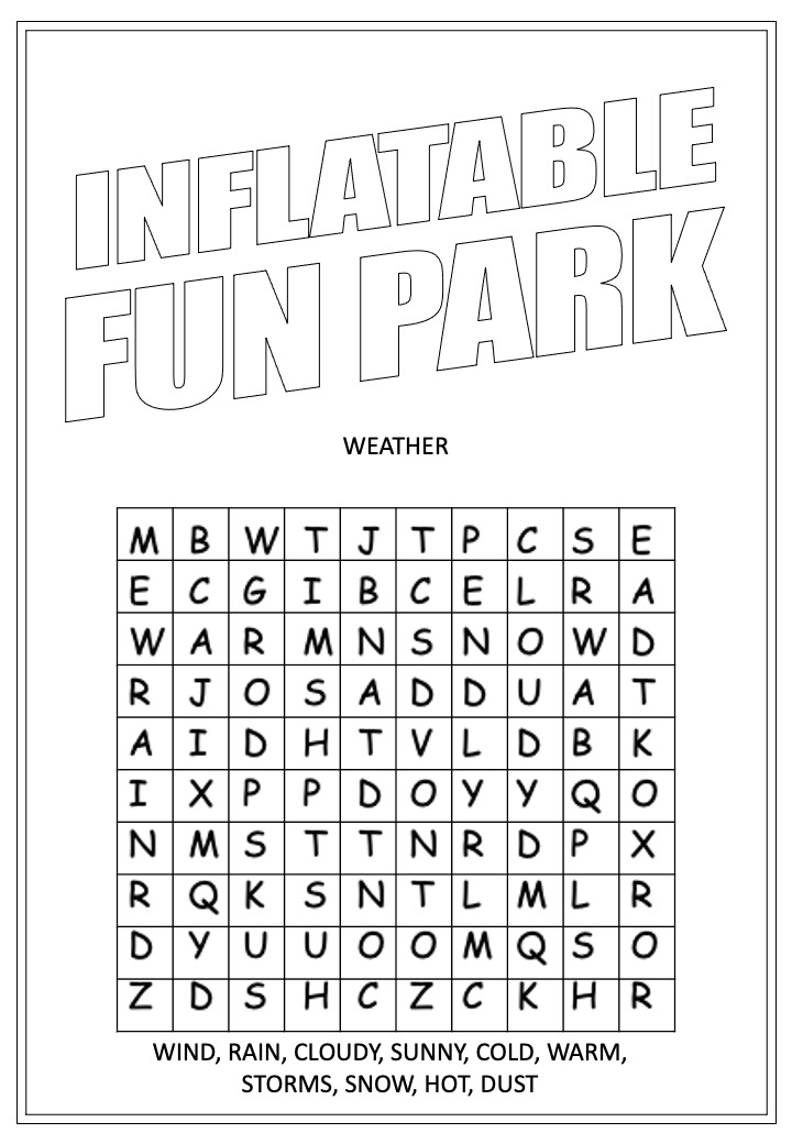 Inflatable Fun Park | Activity Page 15 | Word search