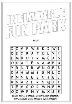 Inflatable Fun Park | Activity Page 18 | Word search