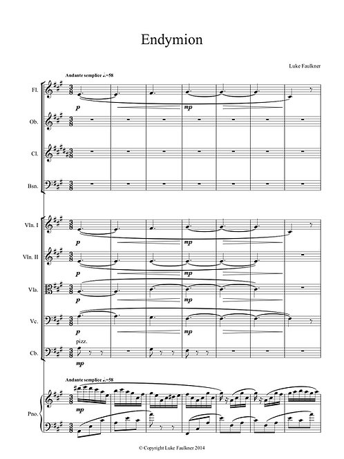 Endymion for piano and chamber orchestra
