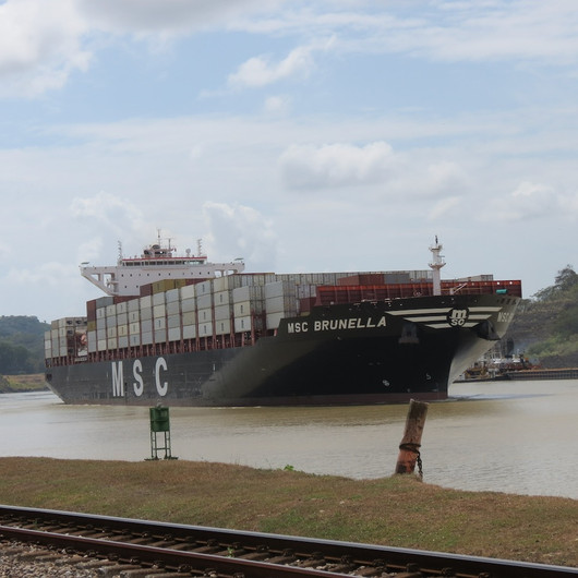MSC Container ship in Panama Canal
