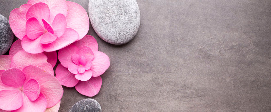 Pink flowes and stones