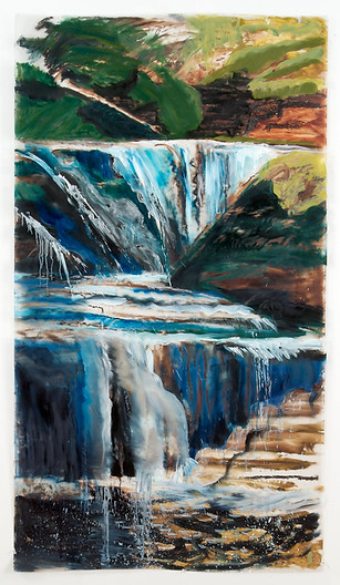 Cascading Thoughts, 72x40, 'cool' and 'warm' layers