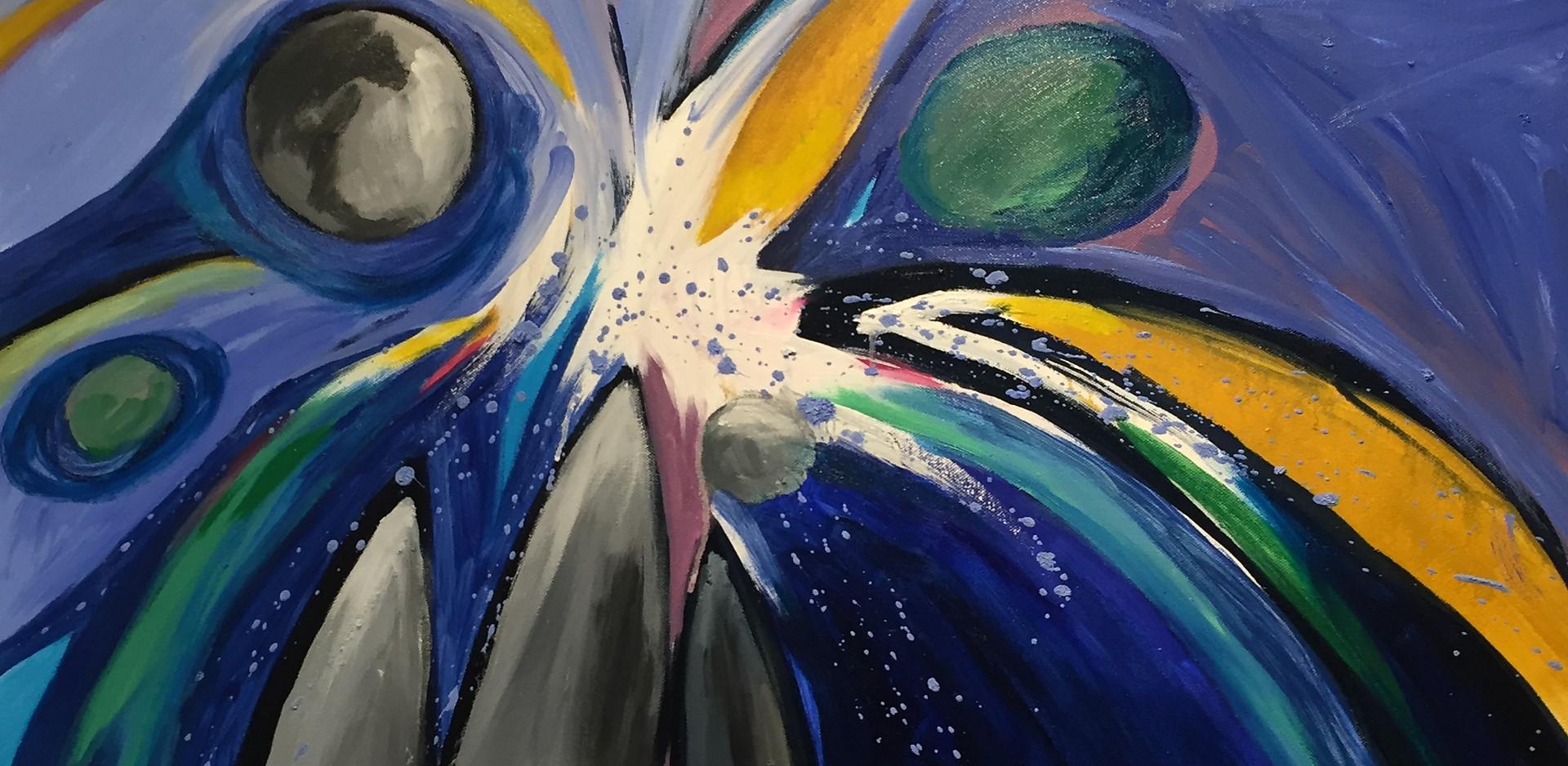 Colliding Asteroids, 24x30