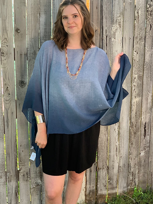 Dip Dyed One Size Poncho With Sleeves