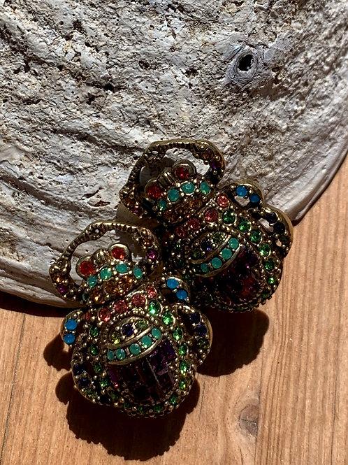 Swarovsky Crystal Beetle Earrings