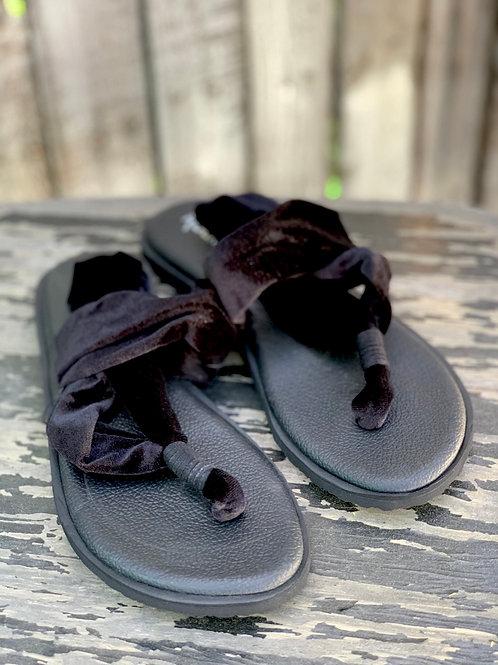 Black Velvet Sling Back Sandals