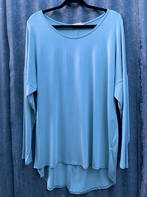 Long Sleeved High Low Knit Top
