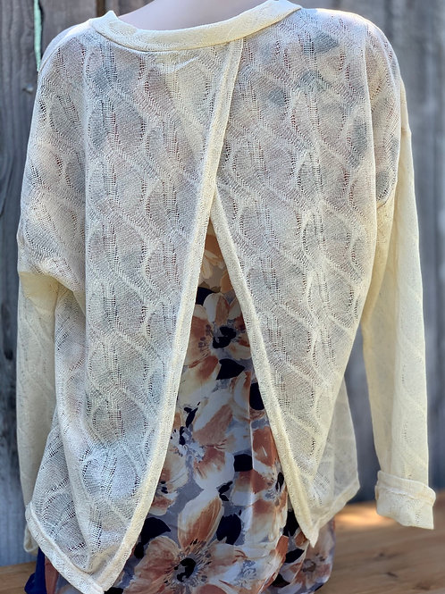 Lightweight Sweater with Sheer Floral Back Panel