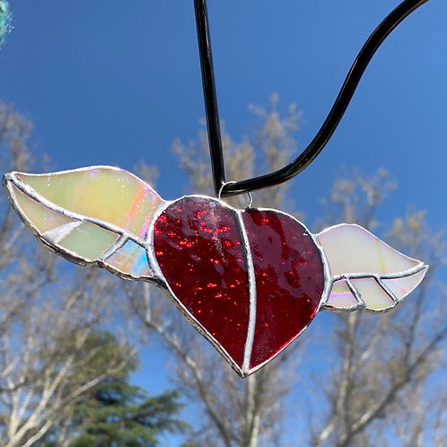 Flying Heart with Wings Stained Glass