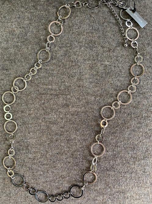 Silver Circles Long Necklace