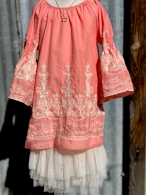 Peach Cotton Embroidered Tunic