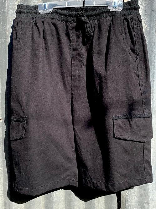 Black Cargo Shorts with Elastic Tie Waistband