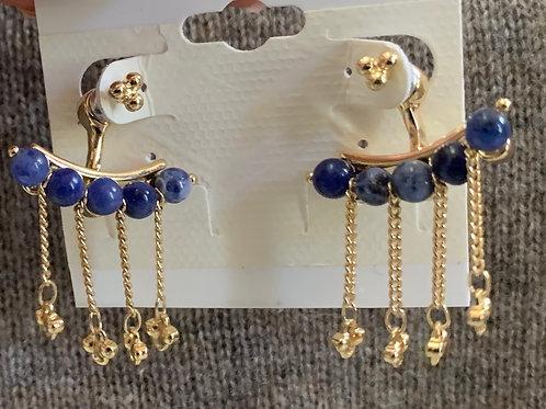 Blue Stone with Gold Ear Jacket Earrings