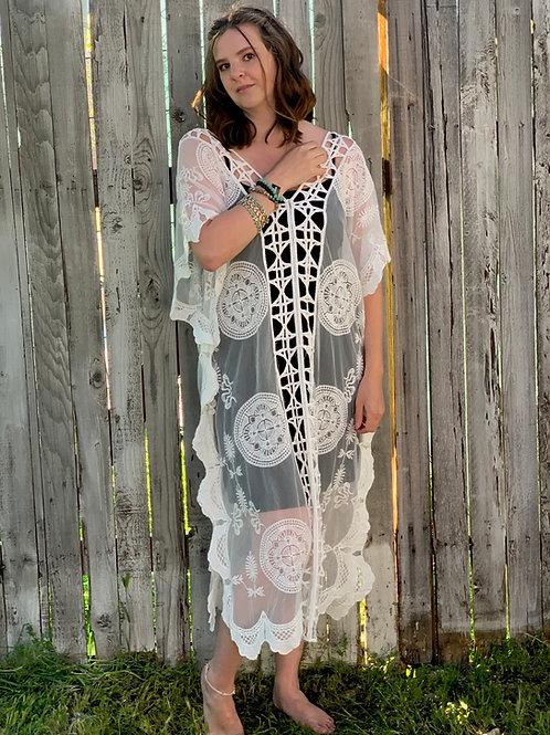 White Sheer Crochet Embroidered Maxi Dress