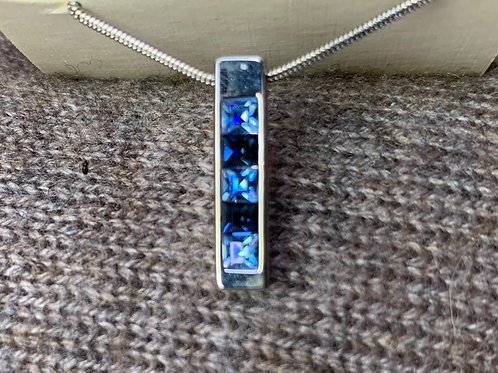 Blue Crystal Charm Necklace