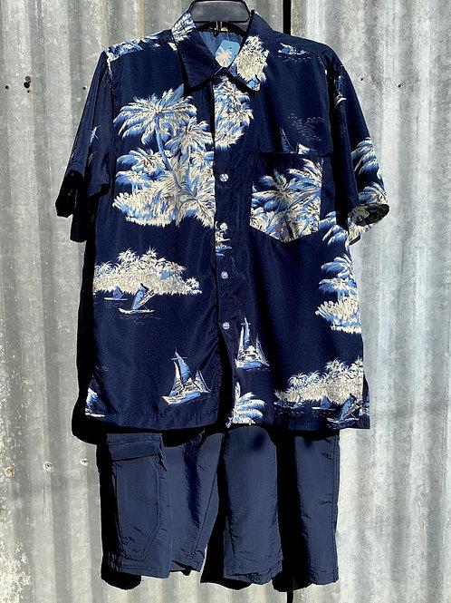 Navy Hawaiian Shirt