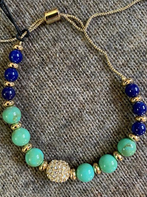 Stone bracelet with crystal bead