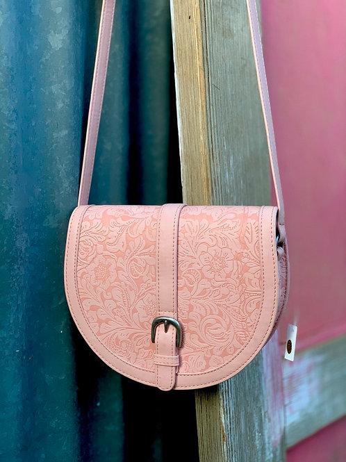 Pink Tooled Shoulder Bag
