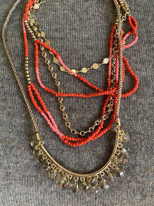 Multi Strand Necklace in Coral
