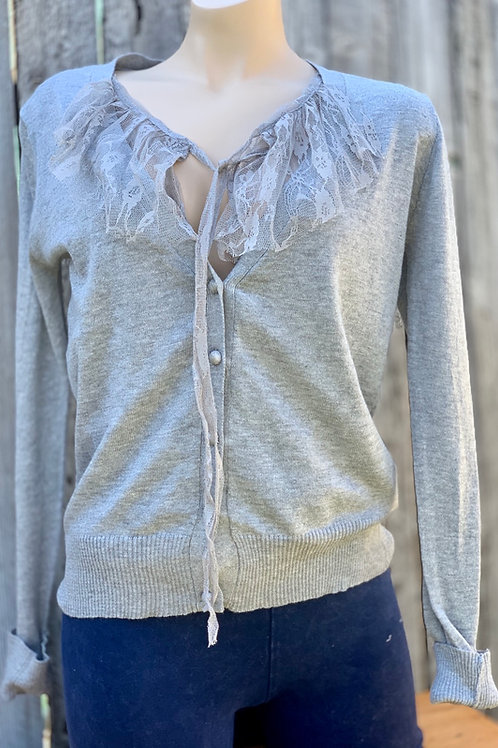 Lightweight Sweater with Lace Collar Grey or Ivory