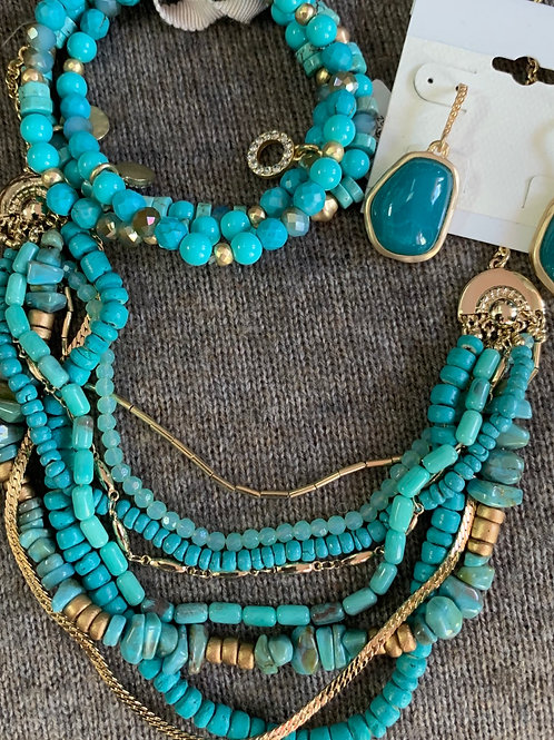 Multi Strand Necklace In Gold and Turquoise