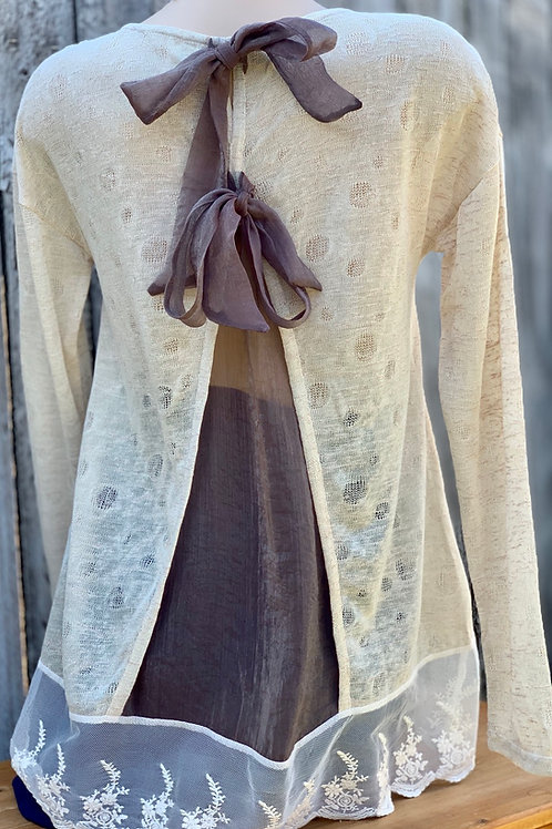 Light Knit with Sheer Back Panel & Ribbon Ties