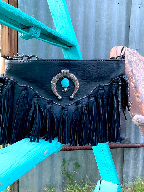 Black Leather Concealed Carry Purse with Fringe and Turquoise