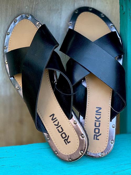 Black Criss Cross Sandals