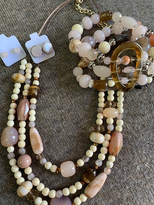Natural Pink and Neutral Stone Necklace