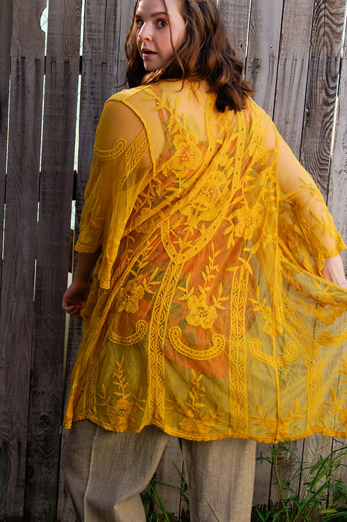 Mustard Embroidered Wrap