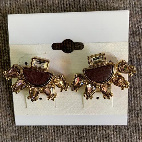Stone and Crystal Ear Jacket Earrings