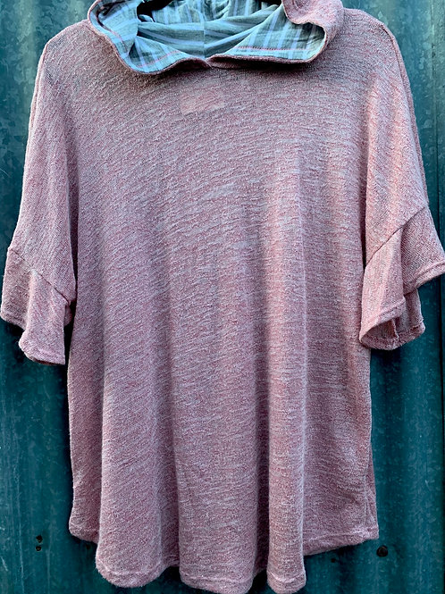 Knit T-Shirt Hoodie with Butterfly Sleeves