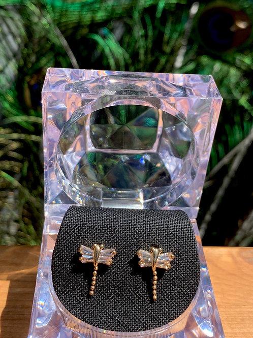 Dragonfly Earrings cubic zirconia