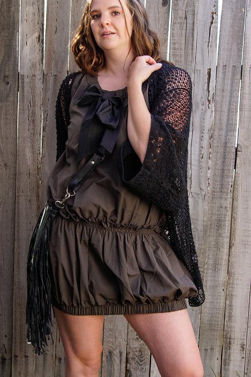 Black Crochet Duster Jacket