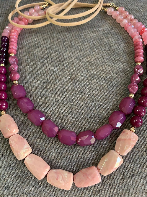 Pink and Burgundy Stone Necklace
