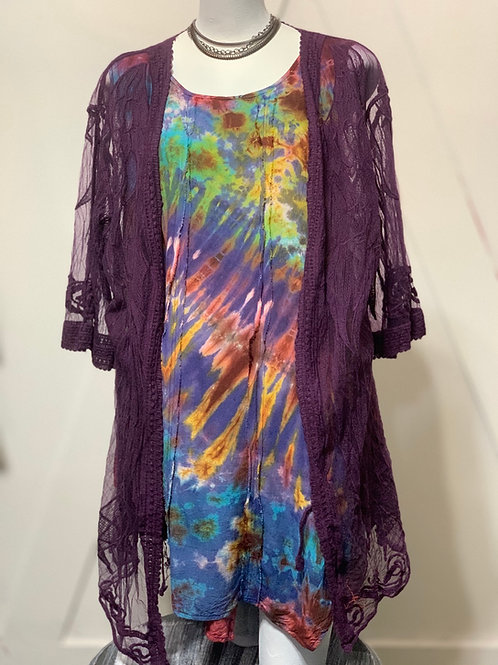 Purple Sheer Embroidered Duster Jacket
