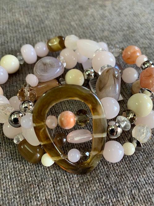 Rose Quartz 3 Strand Bracelet