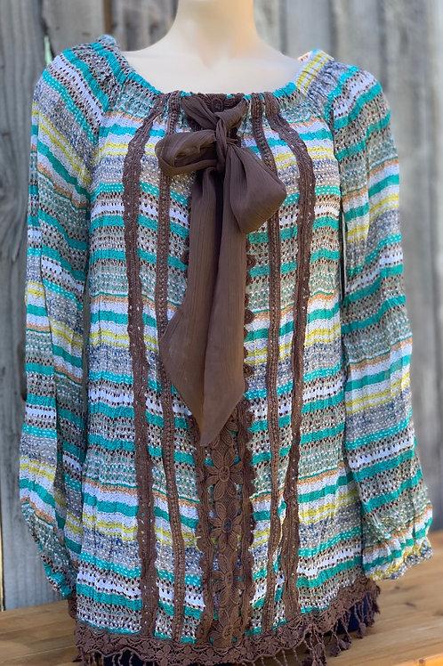 Square Neck or Off Shoulder Long Sleeved Top with Ribbon Details