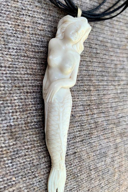 Carved Horn Mermaid Pendant