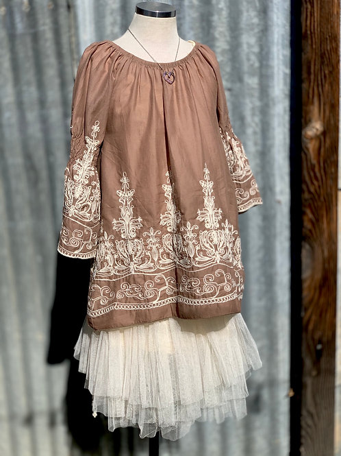 Taupe Cotton Embroidered Tunic