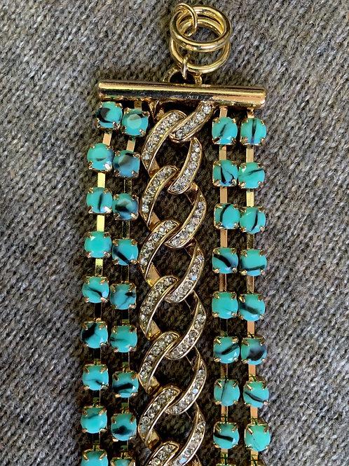 5 Row Stone & Crystal Bracelet