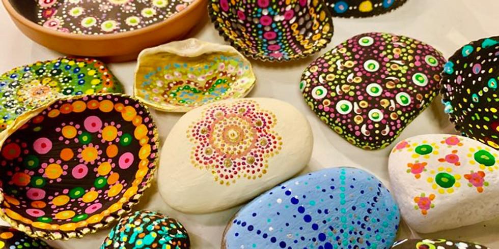 Meditative Mandala Rock Painting Night